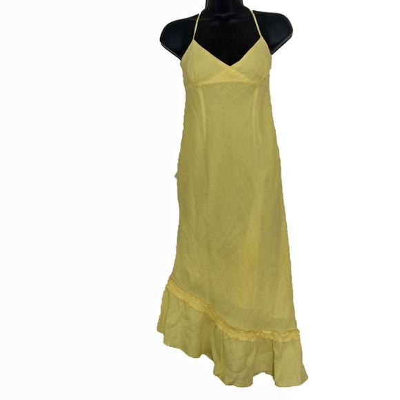 2ee4fb7142 Banana Republic Yellow Asymmetric Linen Sun Dress